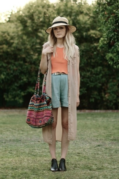 thrifted shorts - Rachel Comey boots - Urban Outfitters hat