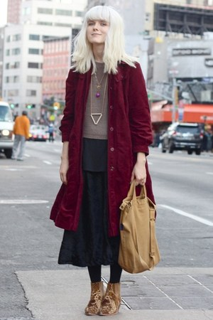 velvet vintage coat - rodarte &amp; opening ceremony shoes - knit H&amp;M sweater