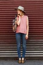 vintage hat - gold oxfords dieppa restrepo shoes - Levis jeans - vintage shirt