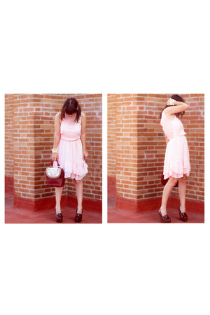 salmon Accessorize ring - light pink Zara dress - brick red Stradivarius bag