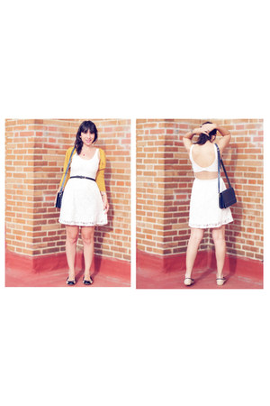 white Lefties dress - navy vintage bag - black H&M belt - gold BLANCO cardigan