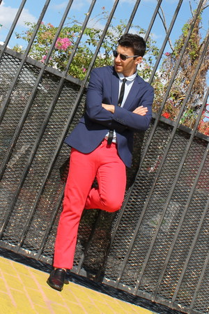 black Express tie - navy Zara blazer - red H&amp;M pants - black Aldo loafers