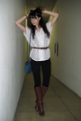 White-from-thailand-shirt-black-american-apparel-leggings-brown-fendi-blue