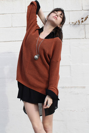 burnt orange vintage sweater - black Dress dress - black AGAIN blouse