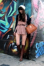 White-h-m-hat-pink-vitage-dress-blue-urban-outfitters-cardigan-brown-fendi