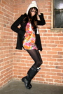 Black-urban-outfitters-jacket-pink-forever-21-dress-blue-hunter-boots-whit