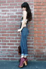 Ruby-red-jeffrey-campbell-boots-overalls-forever21-jeans-brown-vintage-bag-
