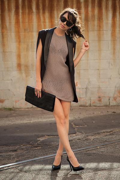 black FOM blazer - tan FOM dress - black St Laurent heels