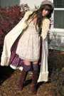 White-jacket-white-urban-outfitters-dress-purple-h-m-socks-purple-vintage-