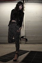 charcoal gray Walter pants - black Nasty Gal jacket - black Mink Pink top