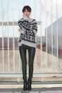 Black-zara-boots-white-free-people-sweater-black-kelly-wearstler-pants