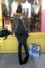 Black-lf-boots-tan-vintage-coat-charcoal-gray-superfine-jeans-teal-lf-swea