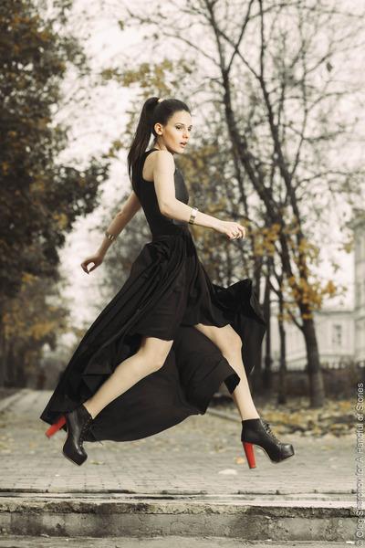 black VJ-style boots - River Island dress