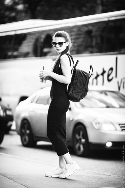 black Topshop dress - black fjallraven bag - white nike sneakers