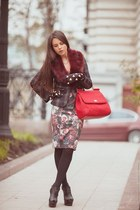 red Dolce & Gabbana bag - Zara dress - crimson Burberry gloves