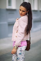 light pink River Island blazer - bubble gum Oasis top - white Zara pants