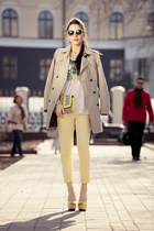 yellow Zara heels - beige trench Zara coat - light yellow H&M bag
