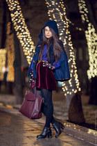 navy Only cape - black Topshop boots - crimson Zara bag - blue Zara blouse