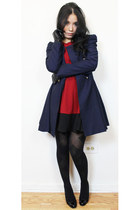 navy coat - ruby red a line dress - black tights - black leather gloves