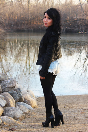 black jacket - white shirt - black tights - blue shorts