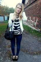 white H&M blazer - navy H&M jeans - black KappAhl sweater - black H&M bag