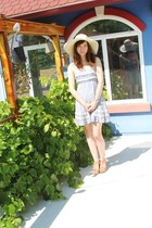 straw H&M hat - Forever 21 dress - franco sarto wedges