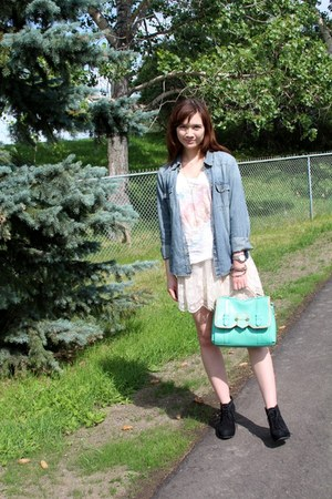 denim h&m divided shirt - botkier bag - Steve Madden wedges - Talula t-shirt