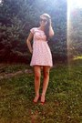 Peach-francescas-collections-dress-black-american-eagle-sunglasses