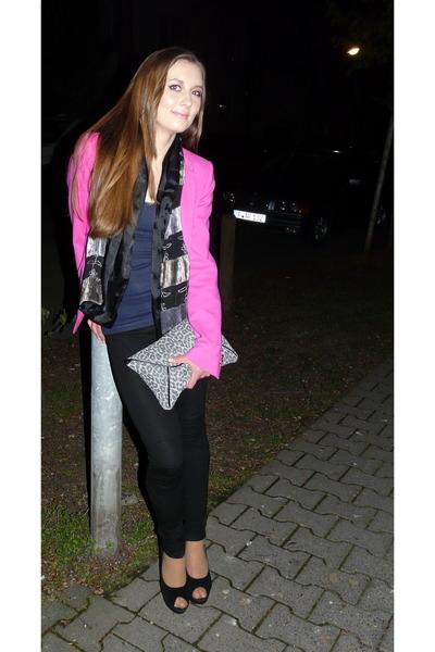 hot pink Zara jacket - black Zara leggings - heather gray H&M bag - navy H&M top