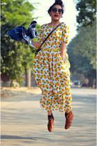 aj store jacket - asos boots - aj store dress - vintage sling aj store bag