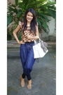 Brown-batik-bringharjo-top-blue-hareem-pants-pants-brown-prada-shoes-white