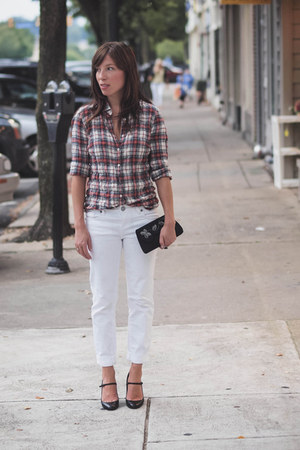 white white denim KUT from the kloth pants - ruby red flannel plaid J Crew shirt