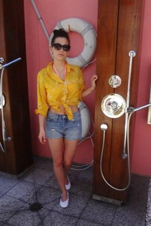 yellow silk vintage shirt - blue H & M shorts - white Yosi Samra flats
