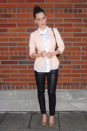 black faux leather Forever 21 pants - peach single button Forever 21 blazer