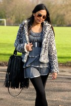 SM dress - leopard H&M coat - H&M bag - Ray Ban sunglasses