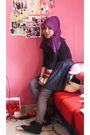 Purple-scarf-black-marks-and-spencer-top-blue-far-east-spore-skirt-silver-