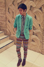 Gold-aztec-h-m-jeans-brown-leather-aldo-shoes-sky-blue-h-m-blazer