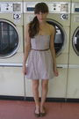 White-target-dress-brown-urban-outfitters-shoes-brown-urban-outfitters-belt