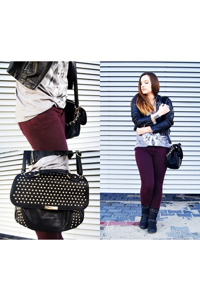 black reserved jacket - black Stradivarius bag - silver Bershka top