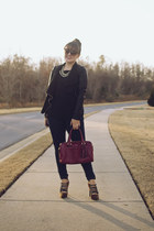 black asos jacket - ruby red leather satchel coach bag - black Loft top