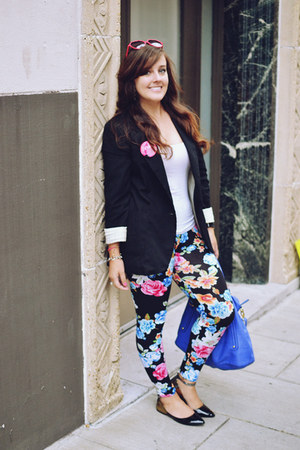 hot pink floral Forever 21 leggings - black Target blazer