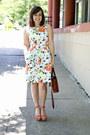 White-floral-a-line-gap-dress-light-orange-ankle-strap-shoedazzle-wedges