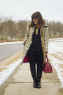 Black-shoedazzle-boots-camel-leopard-fur-trina-turk-coat-brick-red-coach-bag