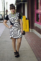 black leather moto Kenneth Cole jacket - ivory zebra print Tibi dress