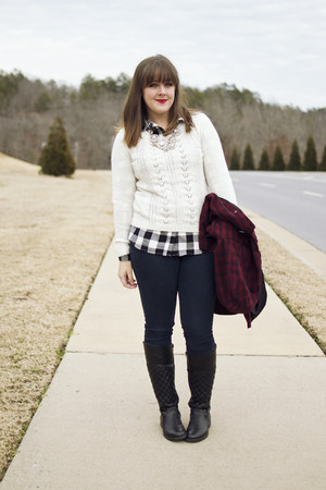 white cable knit Forever 21 sweater - black quilted leather JustFab boots