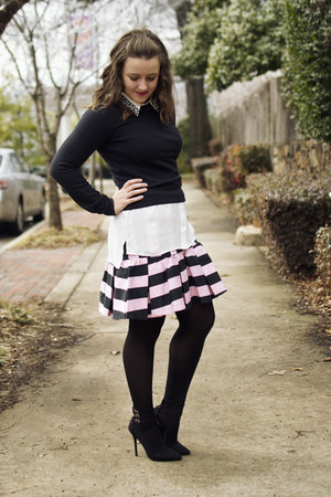 bubble gum asos skirt - black vintage sweater - white bardot shirt