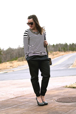 white striped Blu Pepper shirt - black leather joggers Urban Outfitters pants