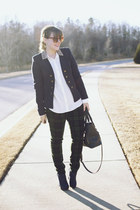 navy military blazer H&M jacket - navy Sole Society boots