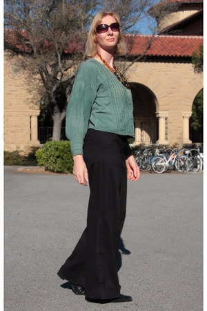 green blouse - black sesto meucci boots - black wide-leg Anthropologie pants