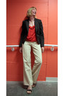 Brown-banana-republic-blazer-beige-striped-signora-pants